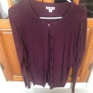 Purple sequined long sleeve cardigan. Size M